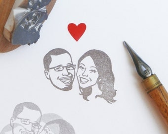 Personalized stamp / custom couples portrait / hand carved rubber / for personalised rustic wedding ring gift bride save the date invites