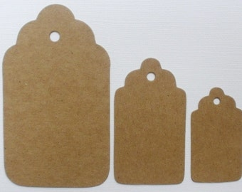 SCALLOP TAGS Chipboard Die Cuts -  Bare Alterable Tags in 3 Graduated Sizes