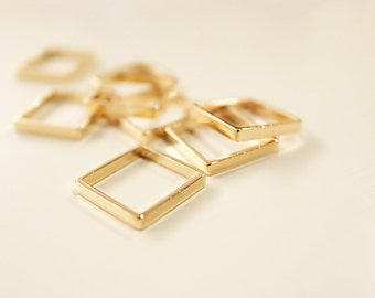 20 pieces of newly made cut raw brass tube outline charm in tiny square box geometric shape 3d cube 8 x 8x1.2mm plated in gold color