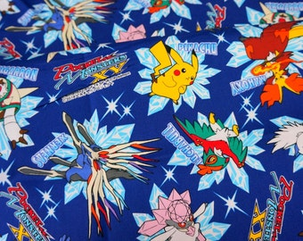 """Pokemon licensed fabric 50 cm by 52 cm or 19.6"""" by 21"""" Fat Quarter Printed in Japan ©nintendo ©pokemon"""