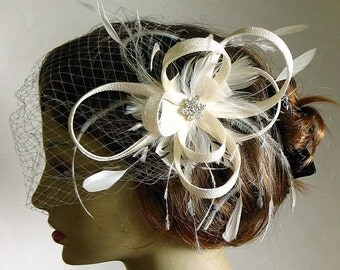 Ivory sinamay twist clip with face veil - bridal fascinator - sinamay headpiece