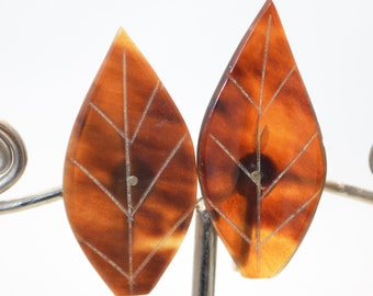 Vintage Tortoise Lucite Leaf Earrings with Gold Inlay