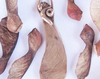 Protecting the Seed, seed pod pendant, maple wings, maple tree, bronze pendant, samara seed, nature jewelry