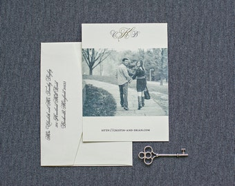 Vintage Photo Save the Date,  Monogram Save the Date, Gold and Ivory Save the Date Card - Cristin and Brian