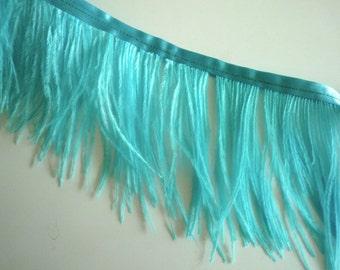 PICCOLO OSTRICH Fringe, Aqua  Blue  /  2091