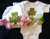 St. Patrick's Day Bodysuit and Bloomers with Shamrock Applique and Monogram Lucky