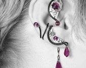 Amethyst Swarovski Crystal Steampunk ear wrap and ear cuff set v8, No piercing needed