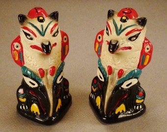 ALASKA TOTEM Salt and Pepper POLES  Souvenir Vintage signed R H R S 1850 41/2  in tall