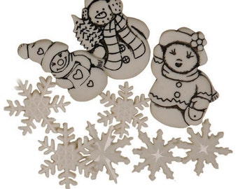 BUTTONS SNOW FAMILY and Snowflakes pack set of 9 buttons