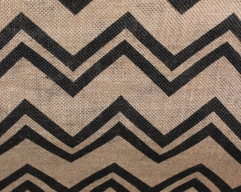 Clearance  1 Yard marked at 50% off BURLAP Printed with CHEVRON design Sultana Burlap Fabric