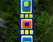 Home Decor - Garden Art  -  Blue, Lime Green, Yellow, Orange Fused Glass Art Stake - Outdoor Decor