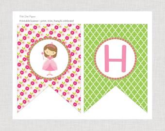 Pink Princess Happy Birthday Banner Hair Color Choice Printable File