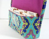 Ready to ship Coupon Organizer Holder Turquoise and Plum Damask