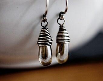Glass Earrings, Czech Glass, Drop Earrings, Dangle Earrings, Sage Green, Metallic, Wire Wrapped, PoleStar, Rustic Jewelry