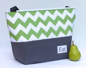 Insulated Lunch Bag Tote Zip Summer Green Chevron Lunch Bag by BonTons
