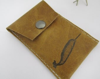 leather snap card wallet small pouch pocket free personalization