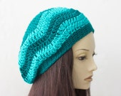 Womens Crochet Hat, Chevron Hat, Slouchy Beanie, Aqua Turquoise Striped Vegan Slouchy Hat