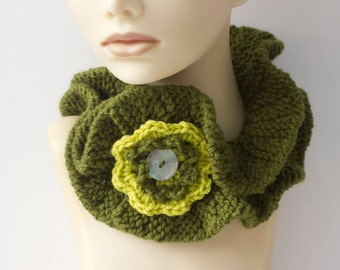 Olive Green Ruffle Neck Warmer with Flower, Vegan Ruffled Scarf, Cowl Scarf