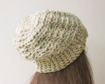 SALE, Soft Chunky Hat,  Souchy Beanie, Crocheted  Hat, Warm Winter Cap,  Beige Hat, Gift for Her, Ready to Ship