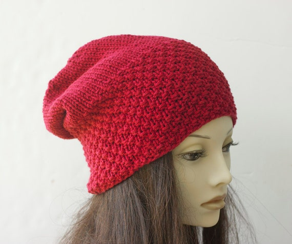 Knit Pattern Beanie With Brim : Hat Knitting Pattern Brimmed Knit Hat PDF Pattern Slouchy