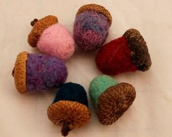 Acorn, 6 Needle Felted Acorns #7