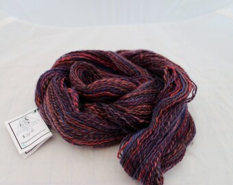 Yarn, Hand Spun Hand Dyed Mohair x Wool Blend Handspun Yarn #34
