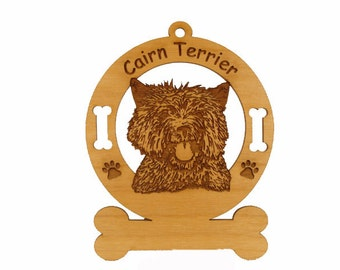 2048 Cairn Terrier Head Personalized Wood Ornament - Free Shipping