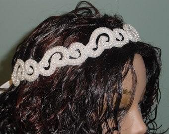 Beaded Wedding Headband Tie Style  Headpiece Light Ivory 24
