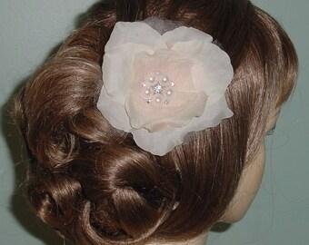 Blush Flower Wedding Clip Hair Accessory  Rhinestones