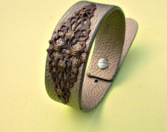 Metallic Silver Adjustable Leather Cuff Bracelet with Brass Accent: Epoc