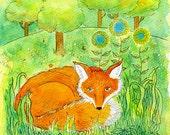 Daydreaming Fox, 11 x 8 original watercolor fox painting flowers wall art