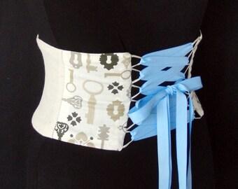 Steampunk Corset Keys and Locks Waist Cincher Belt Any Size B