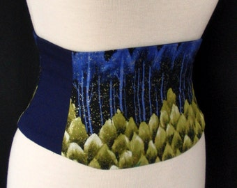 Mountians of Madness Blue and Green Forest Waist Cincher Corset Belt Any Size B