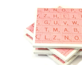 Tile Coasters - Pink Scrabble Tiles (Set of 4 Coasters, Scrabble Letters)
