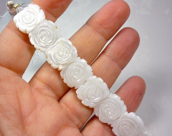 Carved Flower Rose  Mother Of Pearl Double Drilled Spacer Connector Beads, 12mm x 15mm Carved Pearl Beads