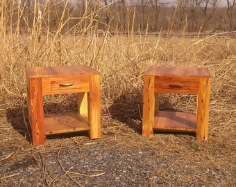 Heart Pine Parsons Style End Tables with Drawer, Shelf and Vintage Pulls