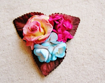 Aqua, Raspberry, Strawberry Buttercream Mixed bunch Vintage style Millinery Flower spray Bouquet- corsage, floral shabby chic-32514 OOAK