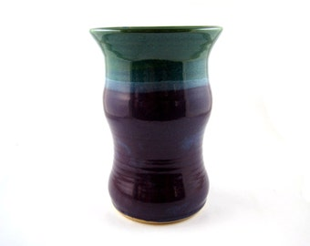 Pottery vase, ceramic vase, purple and turquoise - In stock