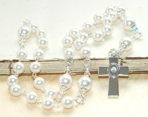 Anglican Prayer Beads / Christian Rosary in White Crystal Pearls / Protestant Rosary