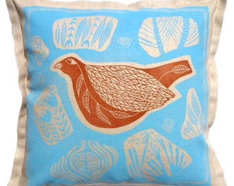 sale - decorative pillow, cushion cover, bird, linocut, turquoise, beige, orange, vibrant colors, home interior, printmaking, hand printed