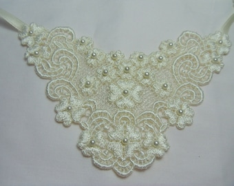 White or Ivory rayon venise lace applique trach stoma cover necklace w/beads -