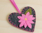 Wool Felt Heart Ornament • Decoration • Grey with a Shocking Pink Flower • Hand Embroidered