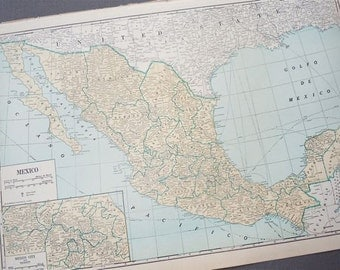 1930s retro map of MEXICO paper ephemera . wall decor . vintage book page