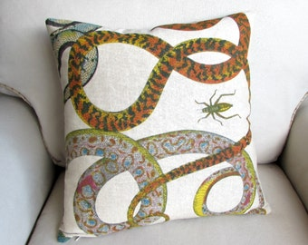 SNAKES decorative designer pillow includes insert