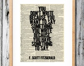 F. Scott Fitzgerald Quote on Writing - Art Print on Vintage Antique Dictionary Paper - Great Gatsby