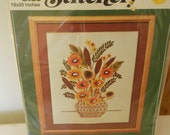 Vintage Crewel Original Valiant Kit Needlepoint Yarn Flowers Stitchery Crafts