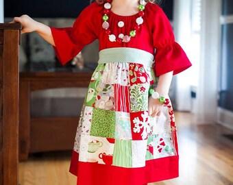 The Handmaiden's Cottage Patchwork Dress PDF pattern, sizes 2T through size 8