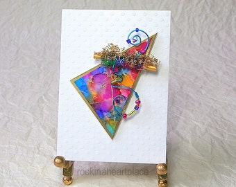 ACEO - original art card, Abstract Triangle in rainbow colors