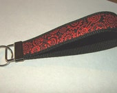 Black with Red GEARS and Wheels Embroidered Trim Key Fob Wristlet