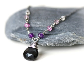 Purple Night - Black Onyx Ombre Gem Arrangement Sterling Silver Necklace